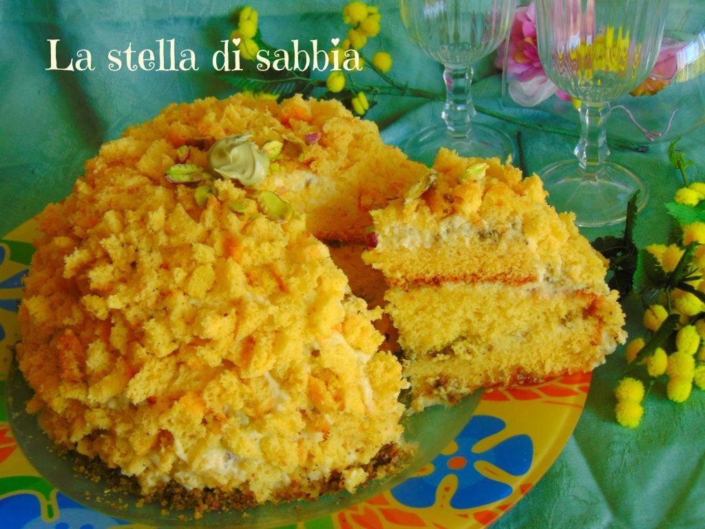Torta mimosa con crema chantilly al pistacchio