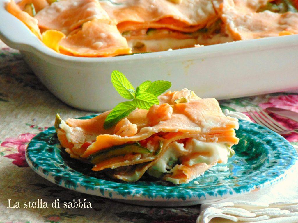 Lasagna rosa zucchine e gamberetti
