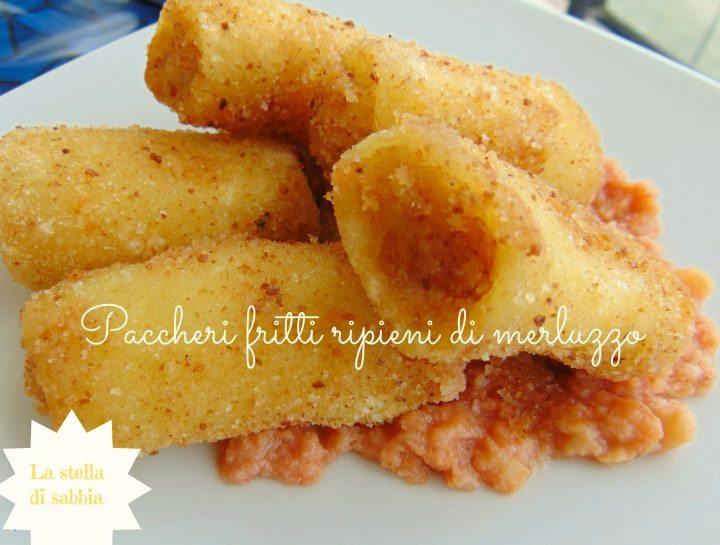 Paccheri fritti ripieni di merluzzo