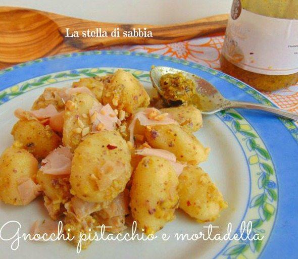 Gnocchi pistacchio e mortadella